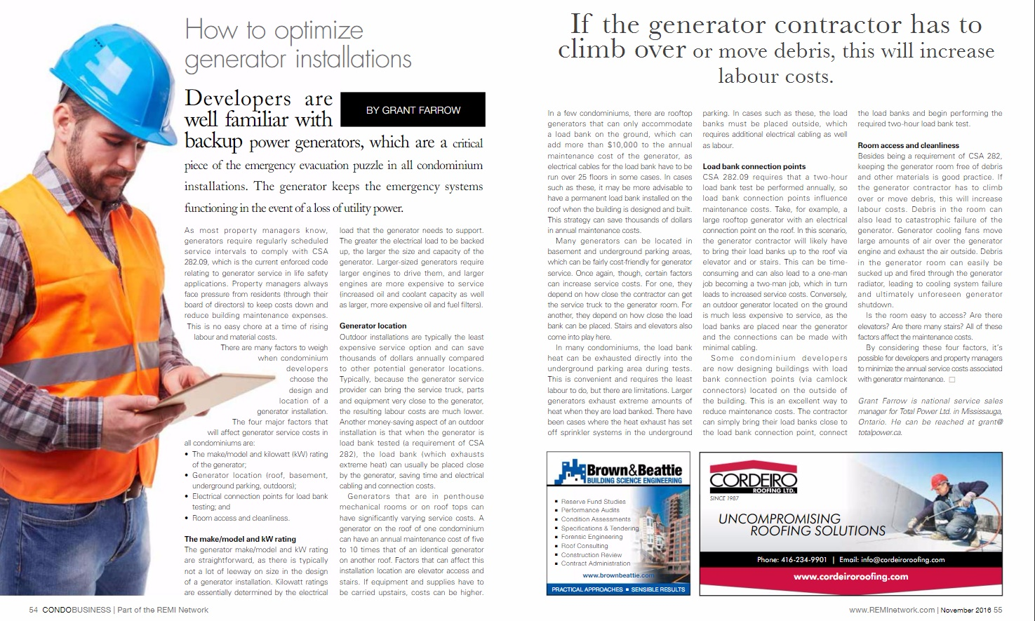 How To Optimize Generator Installations Feature In Condo Business Grant Fuel Filters Magazine Total Power